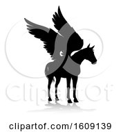 Black Silhouetted Pegasus Horse With A Reflection Or Shadow On A White Background