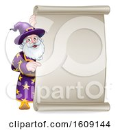 Clipart Of A Happy Wizard Pointing Around A Scroll Sign Royalty Free Vector Illustration