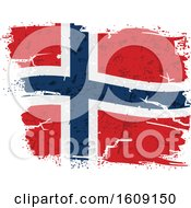 Clipart Of A Torn And Distressed Norwegian Flag Royalty Free Vector Illustration