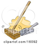 Push Broom And Dustpan Clipart Illustration