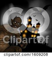 Poster, Art Print Of 3d Evil Demon On A Defocussed Halloween Background