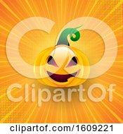 Halloween Background With Pumpkin On Starburst Design
