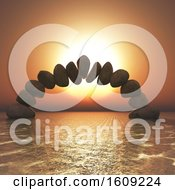 3d Balancing Rock Formation In A Sunset Ocean
