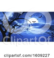 3D Halloween Landscape With Bats And Tree Silhouettes