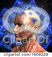 3D Medical Background With Male Head Virus Cells And DNA Strands