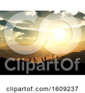 3D Silhouettes Of Children Playing In A Sunset Landscape