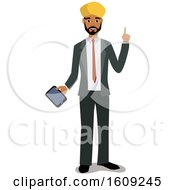 Clipart Of An Indian Business Man Holding A Cell Phone Or Tablet Royalty Free Vector Illustration