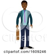 Clipart Of A Happy Black Business Man Holding A Briefcase Royalty Free Vector Illustration