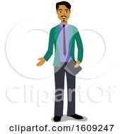 Clipart Of A Hispanic Business Man Presenting Royalty Free Vector Illustration