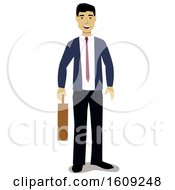 Clipart Of A Happy Asian Business Man Holding A Briefcase Royalty Free Vector Illustration