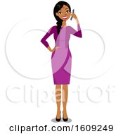 Clipart Of A Happy Indian Business Woman With A Braid And Bindi Talking On A Cell Phone Royalty Free Vector Illustration