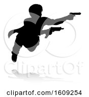 Clipart Of A Silhouetted Actor Or Action Hero Shooting With A Reflection Or Shadow On A White Background Royalty Free Vector Illustration