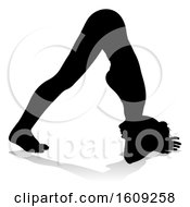 Silhouetted Woman In A Yoga Pose With A Reflection Or Shadow On A White Background