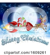 Reindeer Flying With Santa In A Rocket Against A Full Moon With Merry Christmas Text