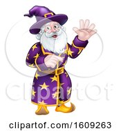Clipart Of A Happy Wizard Waving And Pointing Royalty Free Vector Illustration by AtStockIllustration