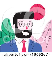 Poster, Art Print Of Cartoon Character Of Smiling Young Bearded Businessman In Formal Suit In Office