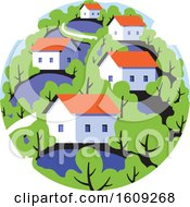 Round Badge With Rural Landscape With Cute Small Houses On Background Of Green Leafy Forest