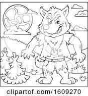 Poster, Art Print Of Lineart Tough Halloween Werewolf Under A Full Moon