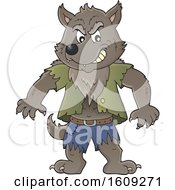 Clipart Of A Tough Halloween Werewolf Royalty Free Vector Illustration