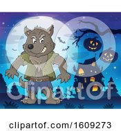 Clipart Of A Tough Halloween Werewolf Near A Haunted House Royalty Free Vector Illustration