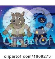 Poster, Art Print Of Tough Halloween Werewolf Near A Haunted House