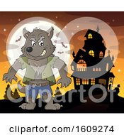 Clipart Of A Tough Halloween Werewolf Against A Full Moon And Haunted House Royalty Free Vector Illustration