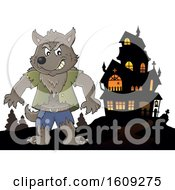 Clipart Of A Tough Halloween Werewolf And Haunted House Royalty Free Vector Illustration
