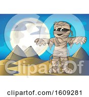 Clipart Of A Mummy And Pyramids At Night Royalty Free Vector Illustration by visekart