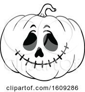 Black And White Carved Halloween Jackolantern Pumpkin