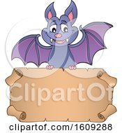 Clipart Of A Flying Vampire Bat With A Blank Scroll Royalty Free Vector Illustration