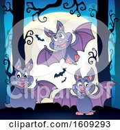 Flying Vampire Bats In The Woods And A Full Moon
