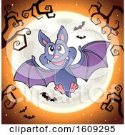 Flying Vampire Bat Against A Full Moon