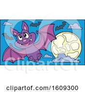 Flying Vampire Bat And Full Moon