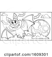 Lineart Flying Vampire Bat And Full Moon