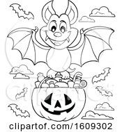 Lineart Vampire Bat Flying With A Pumpkin Basket Of Halloween Candy