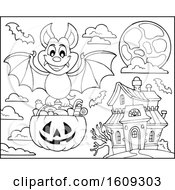 Clipart Of A Lineart Vampire Bat Flying With A Pumpkin Basket Of Halloween Candy Near A Haunted House Royalty Free Vector Illustration