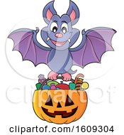 Vampire Bat Flying With A Pumpkin Basket Of Halloween Candy