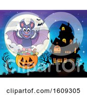 Vampire Bat Flying With A Pumpkin Basket Of Halloween Candy Near A Haunted House