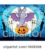 Vampire Bat With A Pumpkin Basket Of Halloween Candy Over A Full Moon And Cemetery Gates