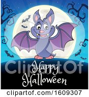 Flying Vampire Bat And Full Moon Over Happy Halloween Text