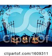 Graveyard Entrance With Gates And Halloween Jackolantern Pumpkins Over Blue