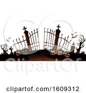Cemetery Entrance With Gates And Halloween Jackolantern Pumpkins