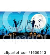 Cemetery Entrance With Gates And Halloween Jackolantern Pumpkins Over Blue