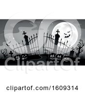 Grayscale Cemetery Entrance With Gates And Halloween Jackolantern Pumpkins Over Blue