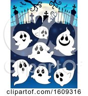 Clipart Of A Group Of Ghosts In A Cemetery Royalty Free Vector Illustration by visekart