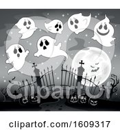 Grayscale Group Of Ghosts Over Cemetery Entrance With Gates And Halloween Jackolantern Pumpkins