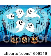 Group Of Ghosts Over Cemetery Entrance With Gates And Halloween Jackolantern Pumpkins