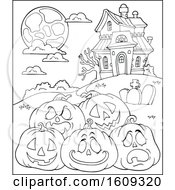 Clipart Of A Black And White Haunted House And Halloween Pumpkins Royalty Free Vector Illustration