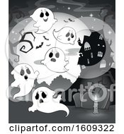 Clipart Of A Grayscale Group Of Ghosts In A Cemetery Near A Haunted House Royalty Free Vector Illustration