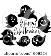 Group Of Ghosts Around A Happy Halloween Greeting